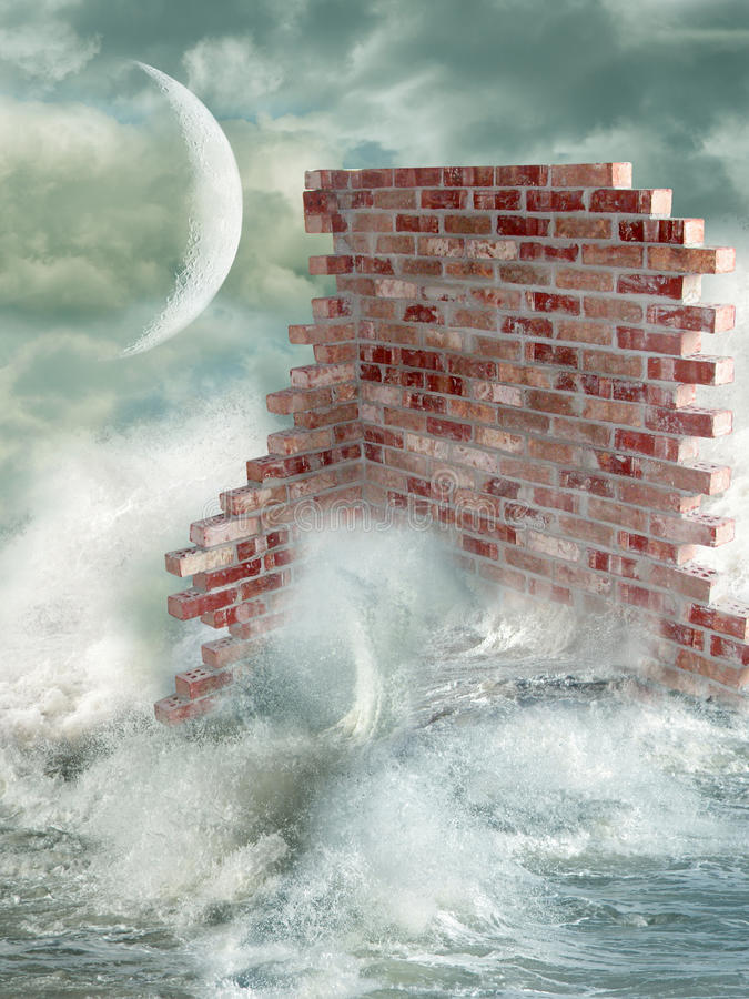 Wall in the ocean stock illustration