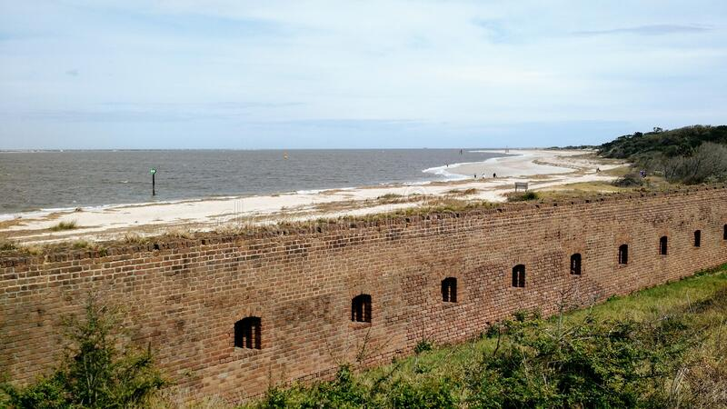 Wall off Fort Clinch stock photos