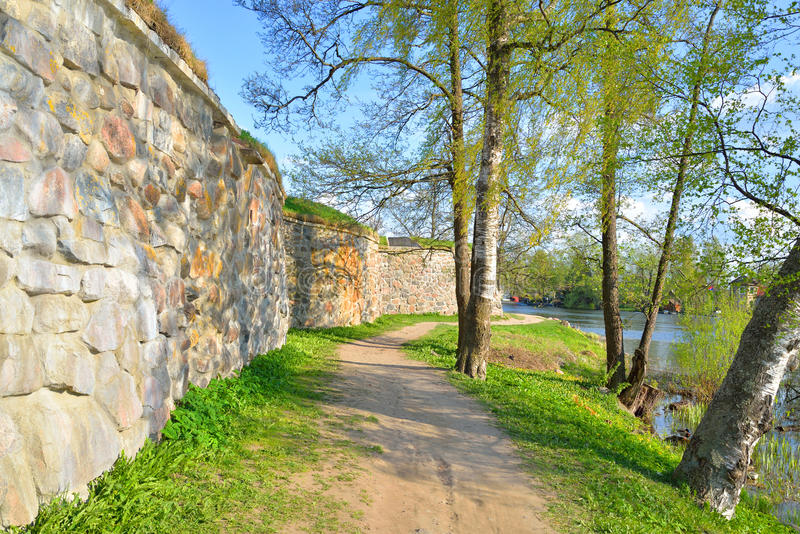 Wall of Old Fortress Korela. stock photos