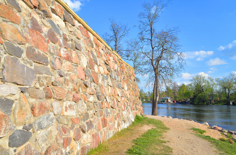Wall of Old Fortress Korela. stock photo
