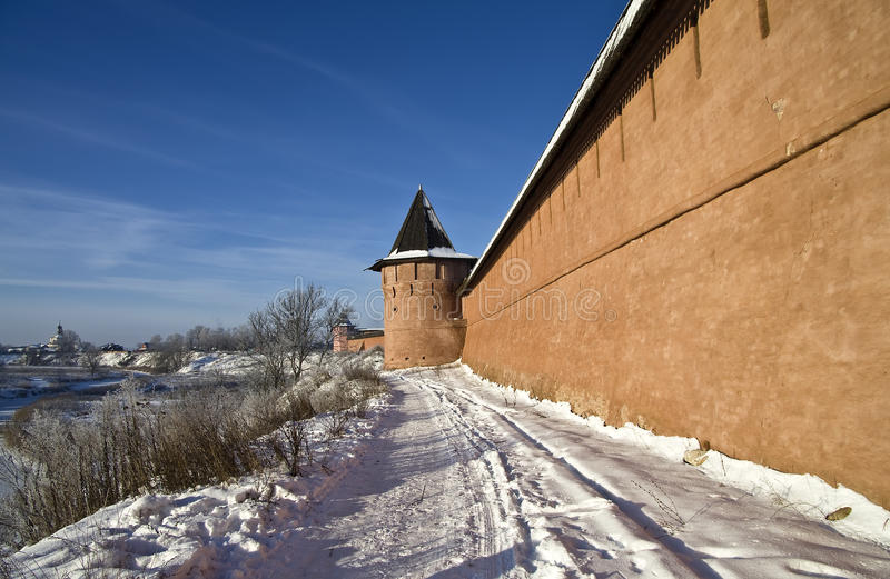 Download Wall of the old monastery. stock photo. Image of embrasure - 29002730