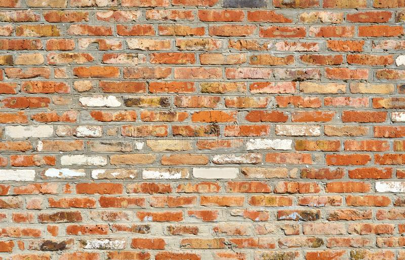 Wall of old red brick for use as background texture royalty free stock photos