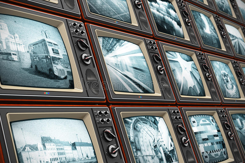 Wall of old TV screens stock illustration