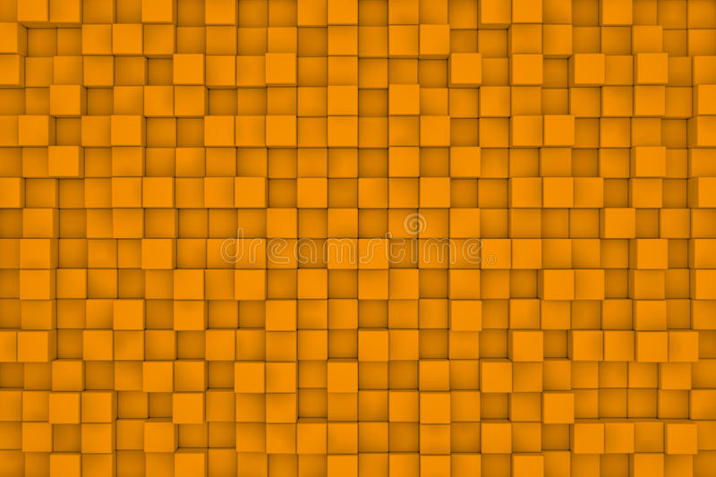Wall of orange cubes. Abstract background stock illustration