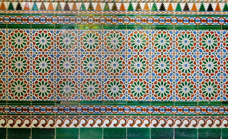 Wall with Ottoman style glazed ceramic tiles decorated with floral ornamentations manufactured in Iznik royalty free stock image