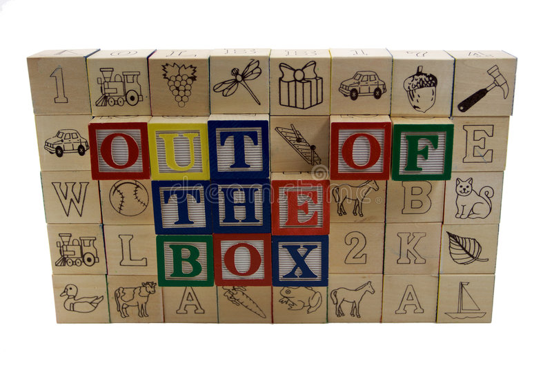 Wall with out of the box alphabet blocks stock photography