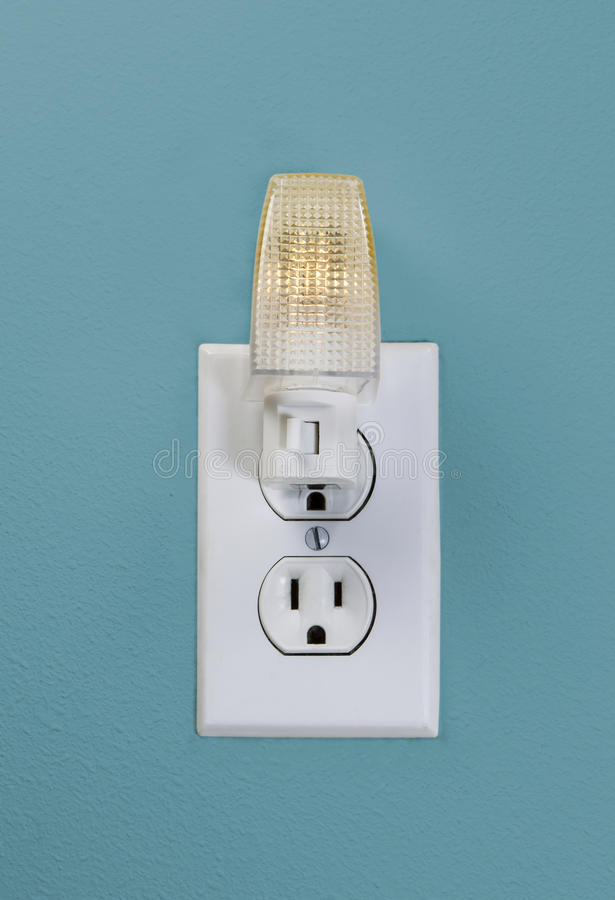 Wall Outlet Light For Night Time Stock Photo - Image of house, white ...