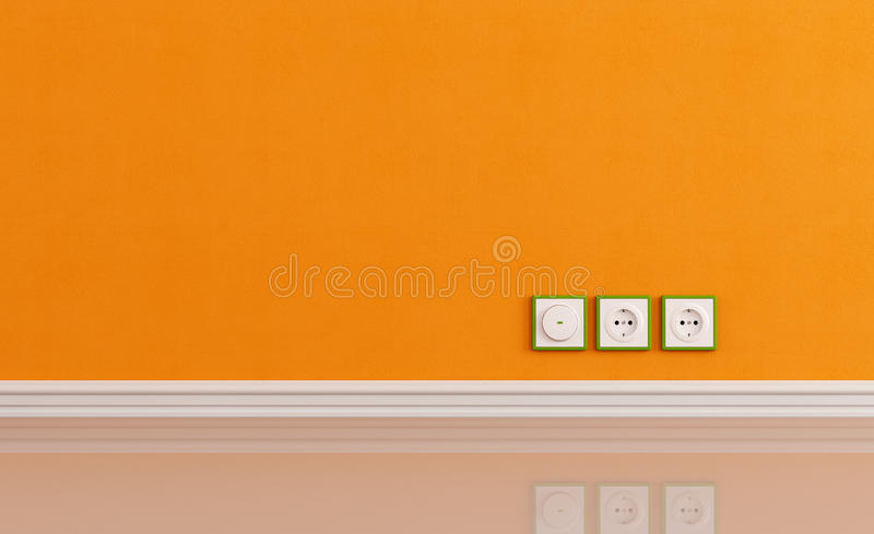 Wall outlets on the orange wall vector illustration