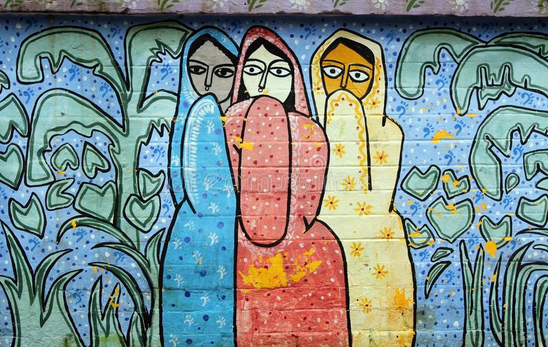 Wall paining in bangladesh stock images