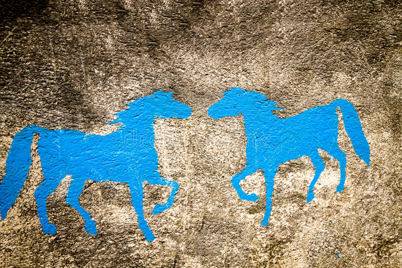 Wall Painted Horse backgrounds stock image