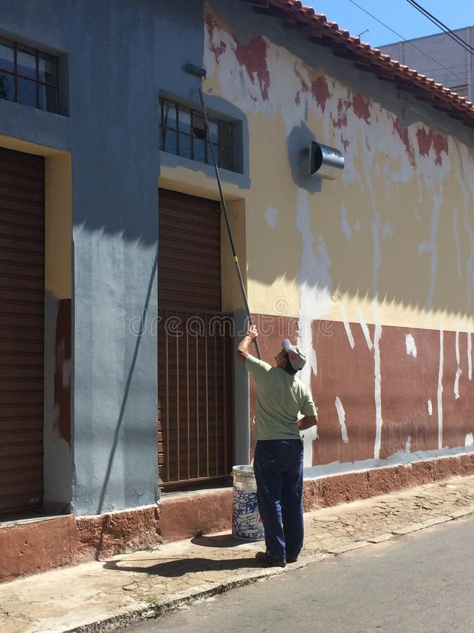 The wall painter stock image