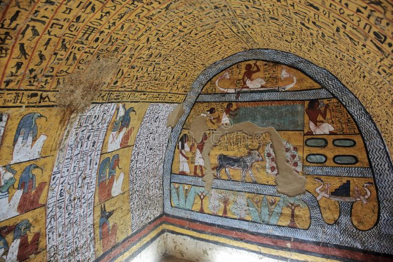 Wall painting and decoration of the tombÑŽ Luxor, Egypt stock photo