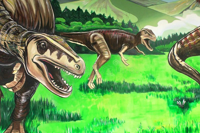 Download A Wall Painting Of Dinosaurs In Gondwana The Prehistoric Museum Germany Stock Photo