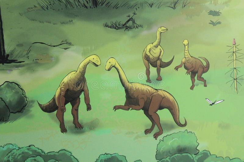 A Colourful Painting Of Dinosaurs In Gondwana The Prehistoric Museum Germany An Attraction For Turists And Kids Immersive