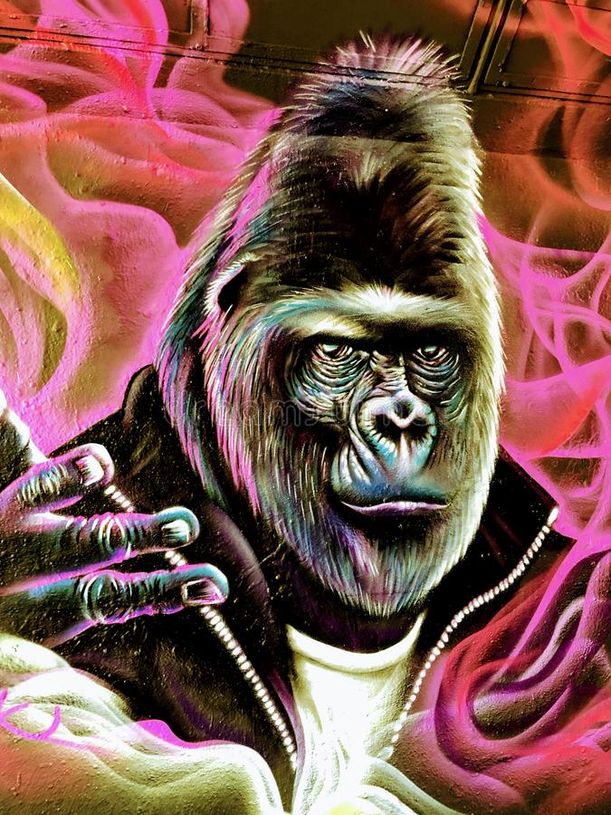 Wall painting of gorilla royalty free stock photos