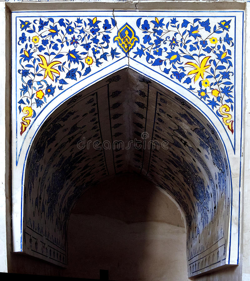 Wall painting of Kok Gumbaz mosque, Uzbekistan. Wall painting of Kok Gumbaz mosque, Shahrisabz, Uzbekistan royalty free stock images
