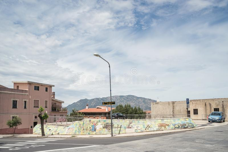 Wall painting, murales in Oliena village,  Nuoro Province, island Sardinia, Italy stock photo