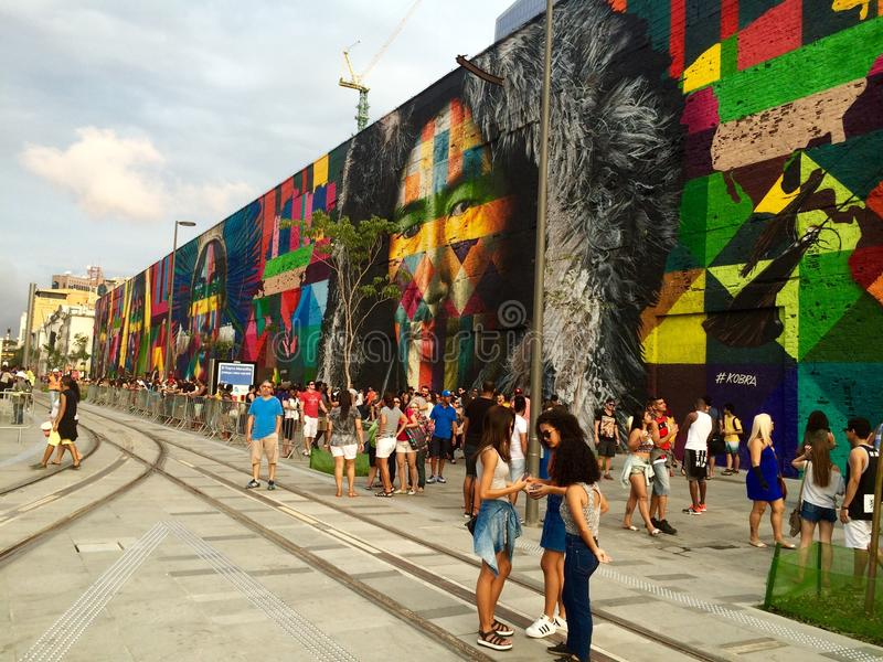 Wall painting at Olympic Boulevard - Rio 2016 royalty free stock images