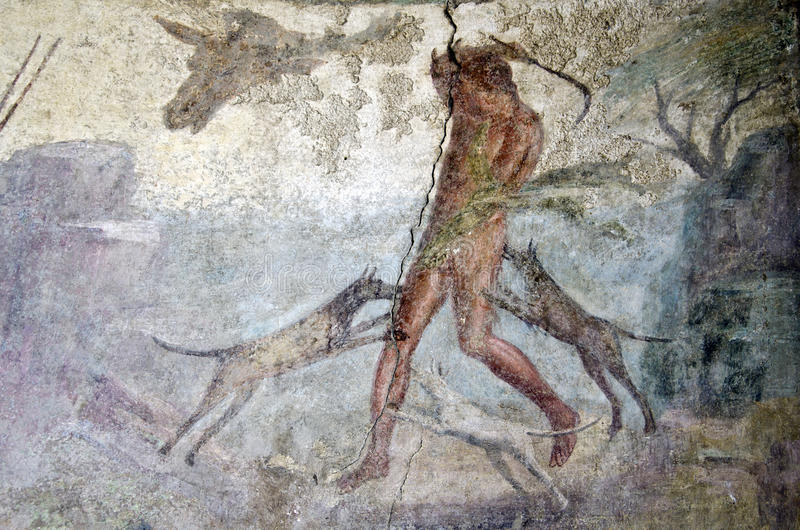 Wall painting from Pompeii. The ruined Roman city, Italy royalty free stock photos
