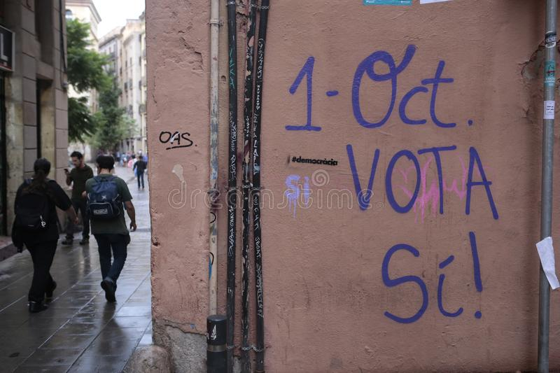 Independence referendum paintings in barcelona stock photography