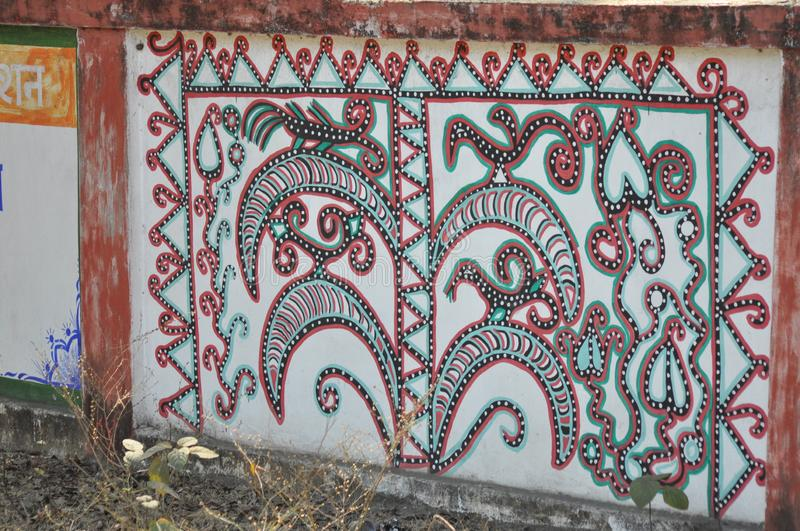 Wall painting on the road stock images