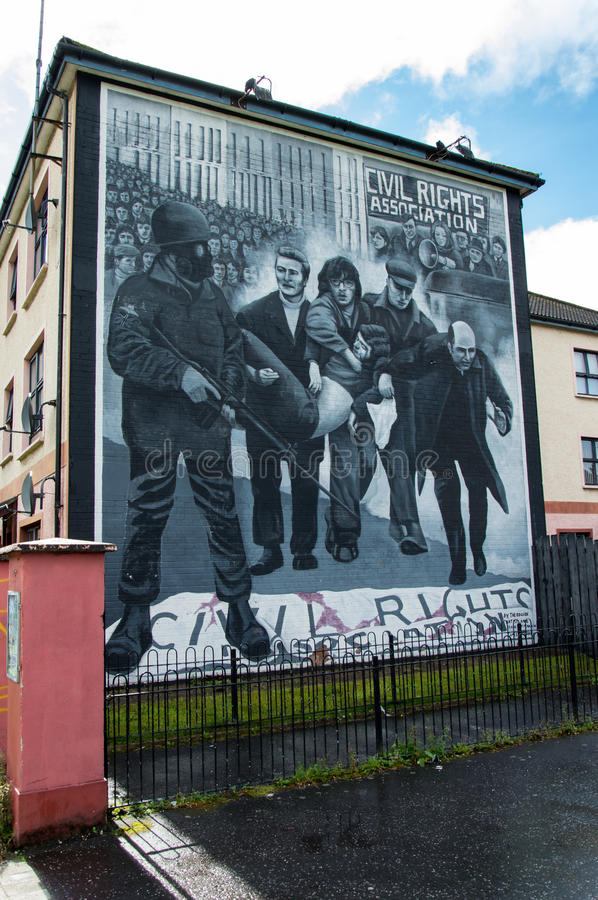 Wall Painting Roads in Derry (LondonDerry). Bloody Sunday memorial wall-paintings road in Londonderry (Derry), Ulster, Northern Ireland. You are now entering stock image