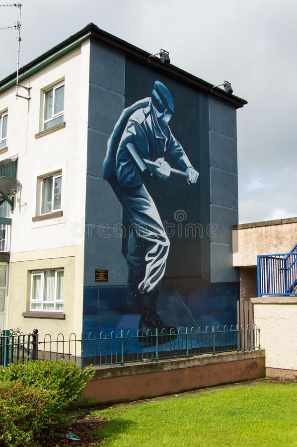 Wall Painting Roads in Derry (LondonDerry). Bloody Sunday memorial wall-paintings road in Londonderry (Derry), Ulster, Northern Ireland. You are now entering royalty free stock photo