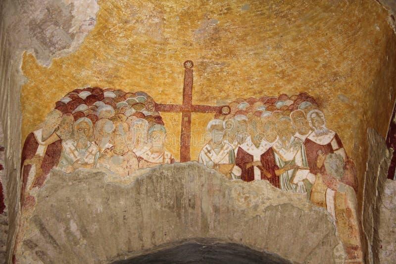 Wall painting in Saint Nicolas church in Myra, old name - Demre stock photos