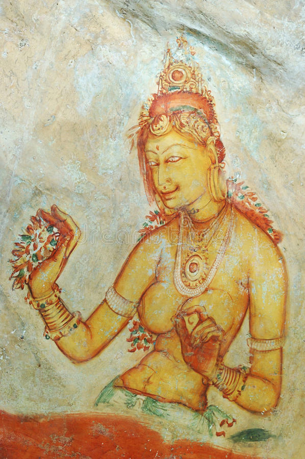 Wall painting in Sigiriya rock monastery stock image