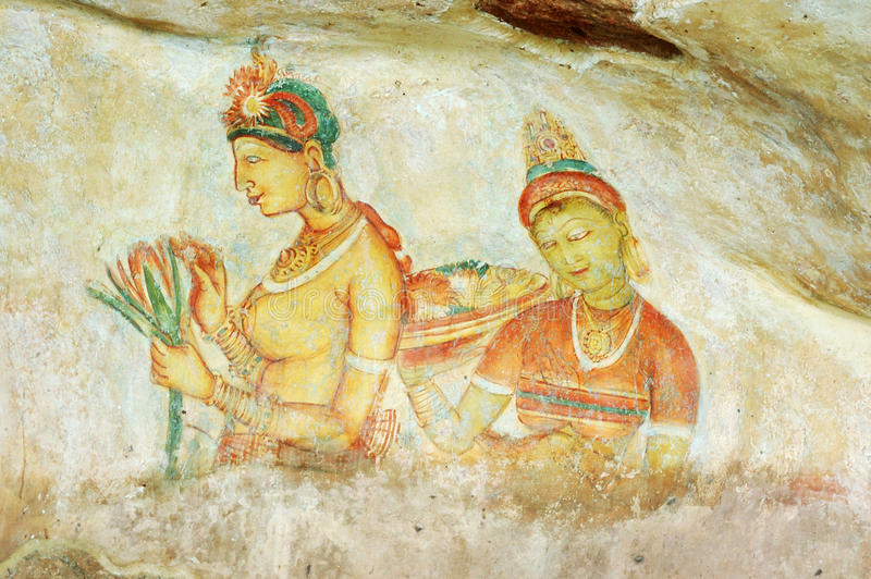 Wall painting in Sigiriya rock monastery,Ceylon royalty free stock image