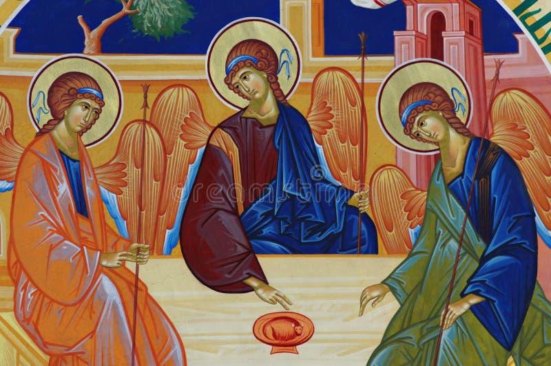 Wall painting in orthodox church - Holy Trinity - Bujoreni Monastery, Vaslui County, landmark attraction in Romania stock photos