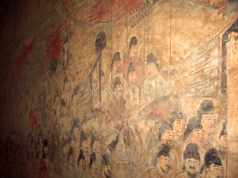 Wall Painting in the Tomb of Crown Prince Yide, Son of Emperor Zhongzong in Tang Dynasty, Xian, China. Wall Painting in the Tomb of Crown Prince Yide, or Li stock photography