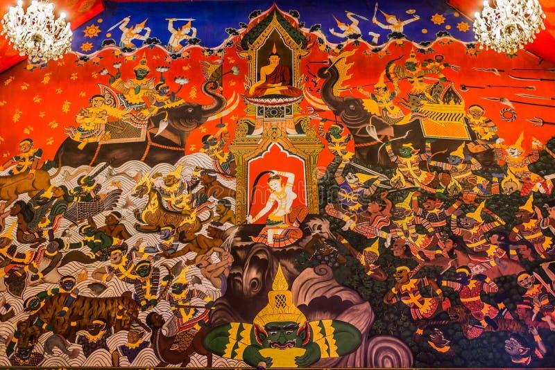 Wall painting Wat Phanan Choeng temple Ayutthaya bangkok Thailand royalty free stock photo