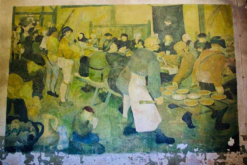 World War ll Retro Art, Diapori, Leros, Greece. Wall paintings in abandoned World War 2 German army barracks done by soldiers in 1943, now occupied by goats in stock images