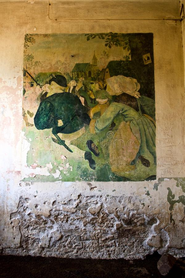 World War ll Retro Art, Diapori, Leros, Greece. Wall paintings in abandoned World War 2 German army barracks done by soldiers in 1943, now occupied by goats in royalty free stock photos