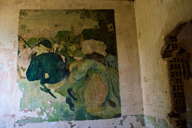World War ll Retro Art, Diapori, Leros, Greece. Wall paintings in abandoned World War 2 German army barracks done by soldiers in 1943, now occupied by goats in royalty free stock photography