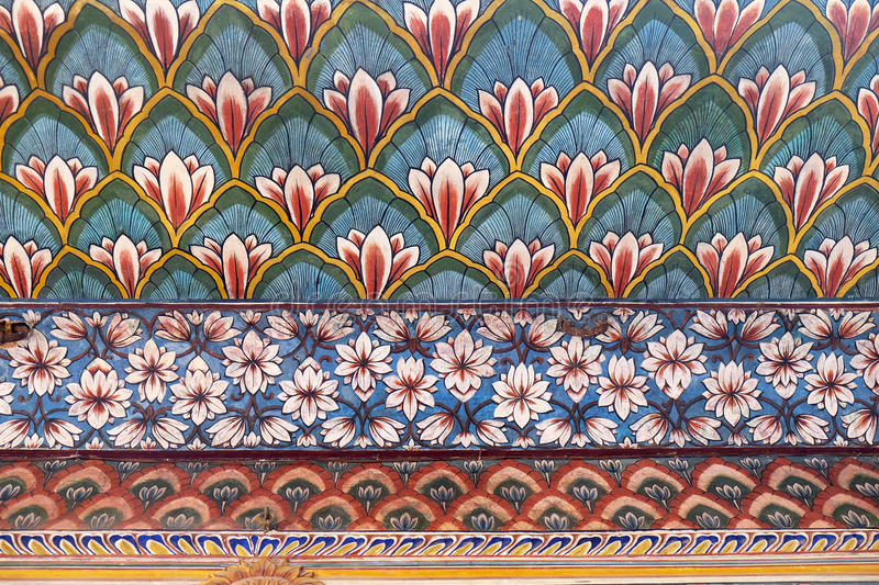 Wall paintings in the Chandra Mahal, Jaipur City Palace. In Jaipur, Rajasthan, India royalty free stock photo