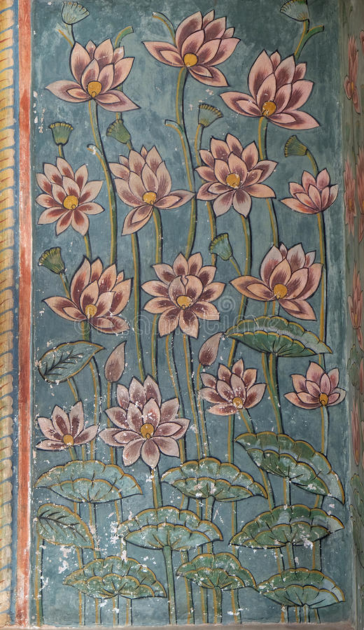 Wall paintings in the Chandra Mahal, Jaipur City Palace royalty free stock photography