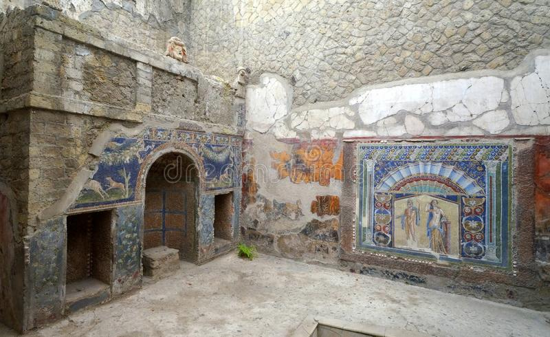 Wall Paintings in a Herculaneum Home stock images