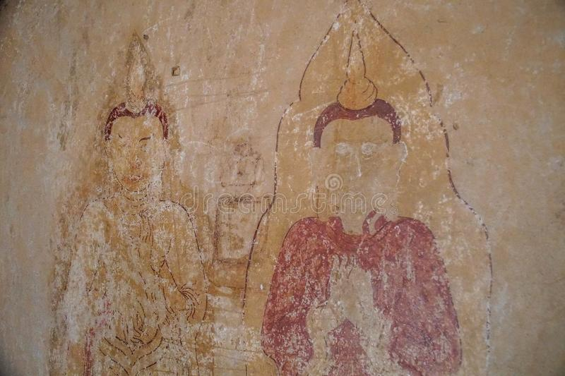 Wall Paintings inside Buddhist Temples in Myanmar Burma stock image