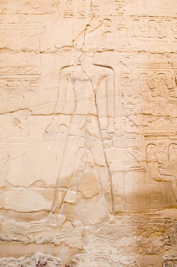 Wall paintings in Karnak Temple in Luxor. Egypt royalty free stock photo