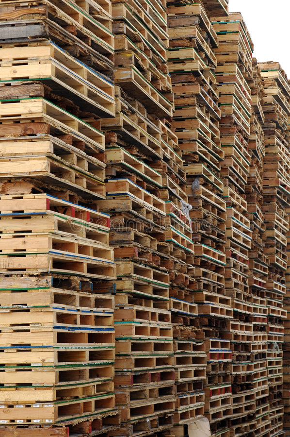 Wall of pallets. A wall of shipping pallets stock photos