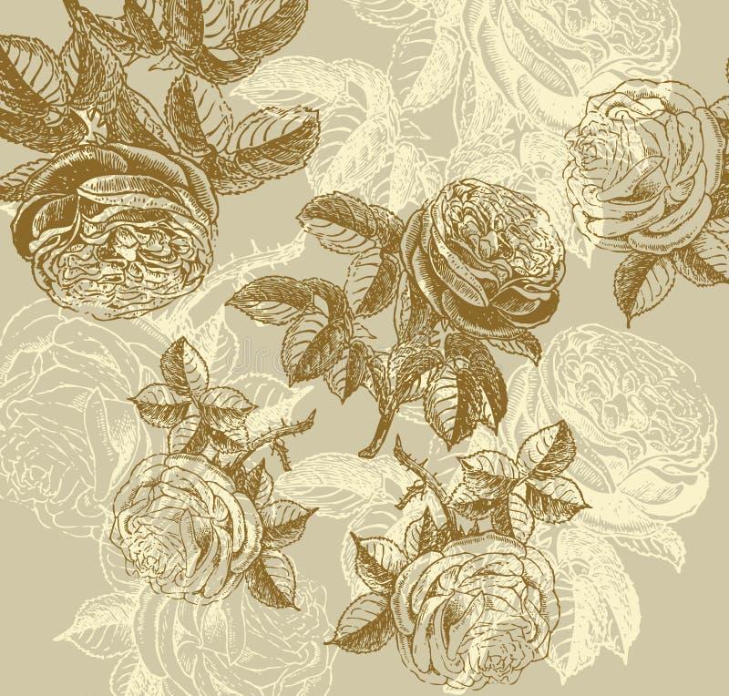 Wall-paper clássico com um teste padrão de flor. ilustração stock