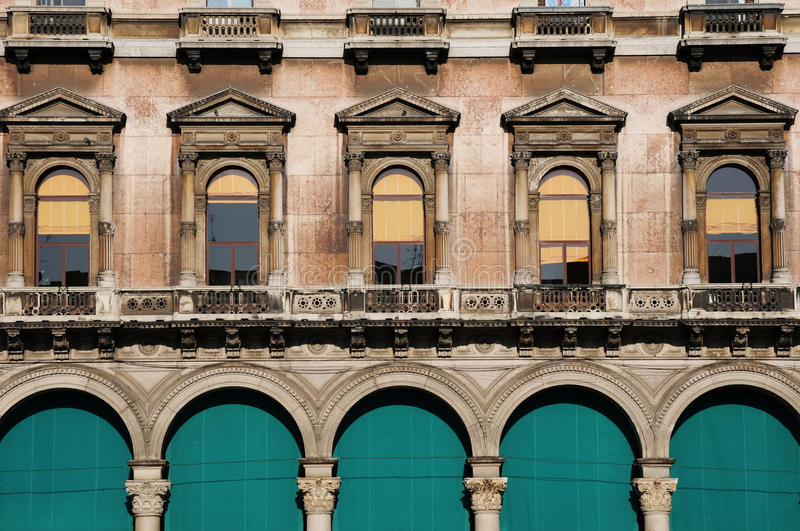 Wall pattern with window in classic building. Building heritage in Milan with classic pattern stock image