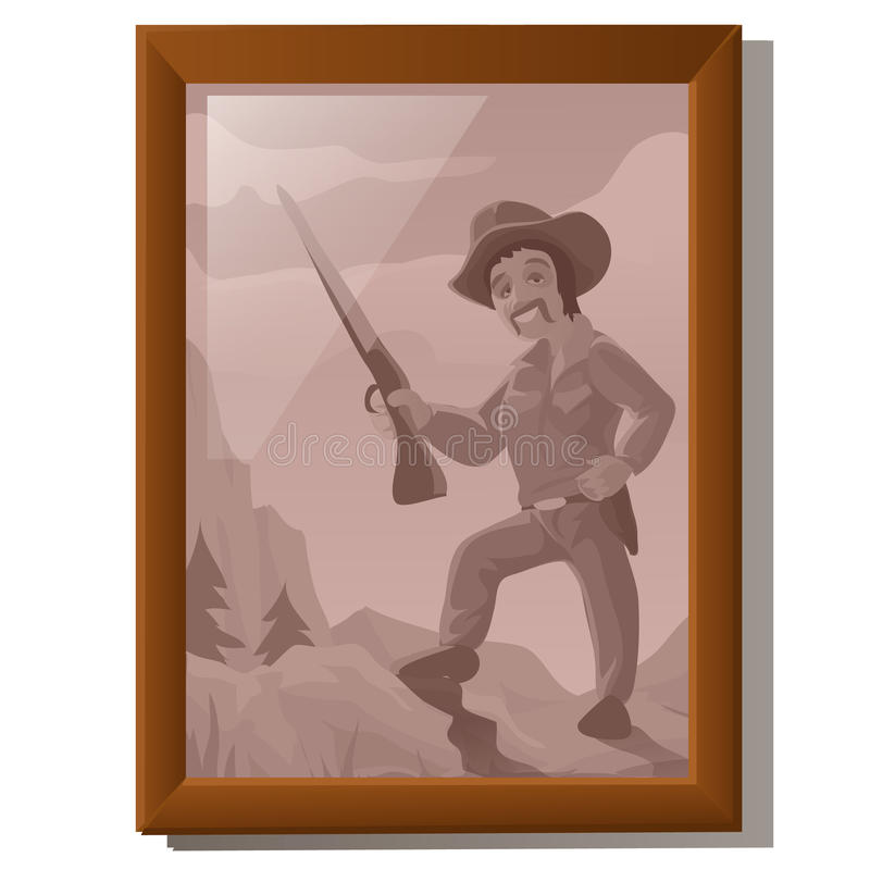 Wall picture in frame, portrait of American hunter royalty free stock photo