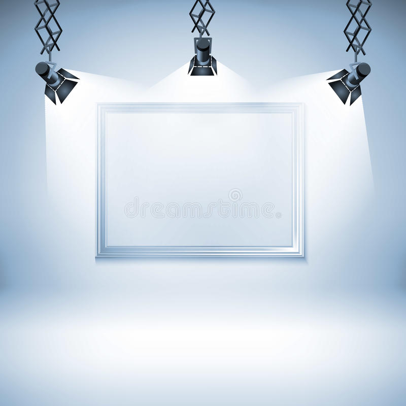 Wall With Picture. Vector Illustration. Spotlight, Light, Spot ...