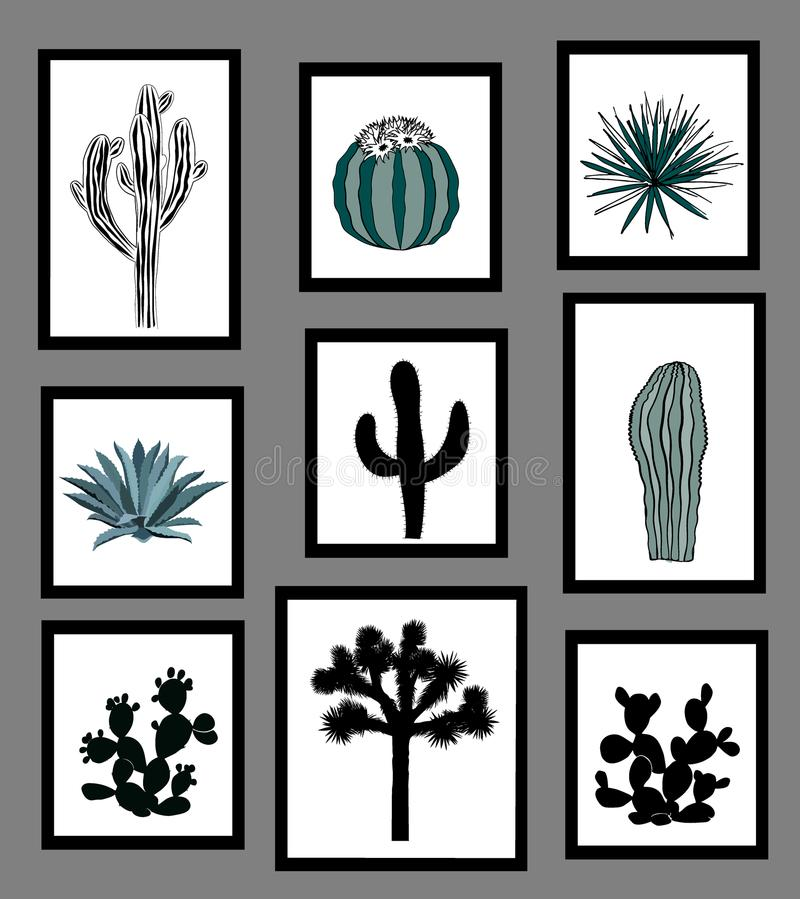 Wall pictures sat with black and white silhouettes of cactus, agave, and prickly pear. Vector illustration vector illustration