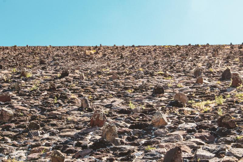 Wall of pyramid of sun in Teotihuacan, Mexico City stock image