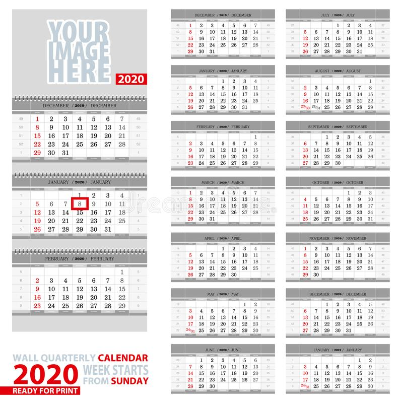 Wall quarterly calendar 2020. Week start from Sunday, ready for print royalty free illustration