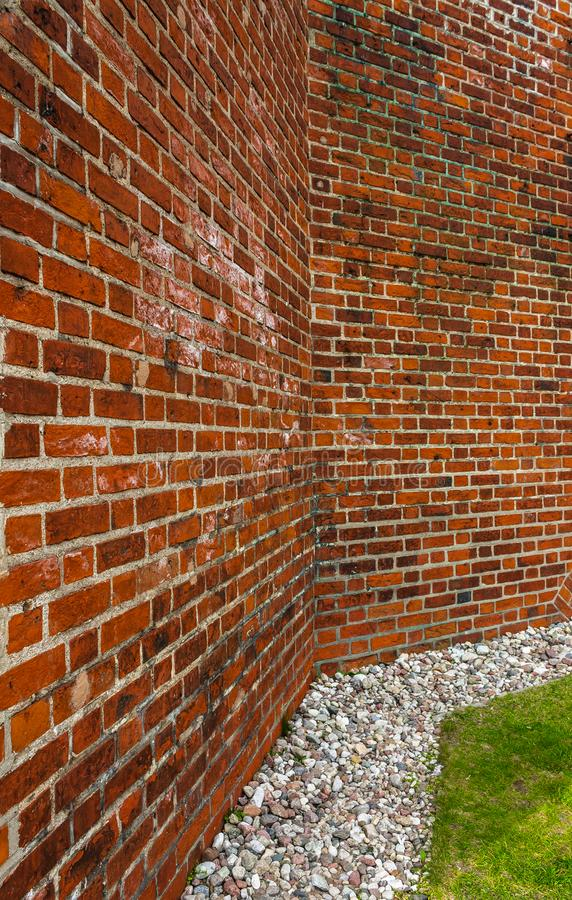 Wall of red brick closeup. royalty free stock photography